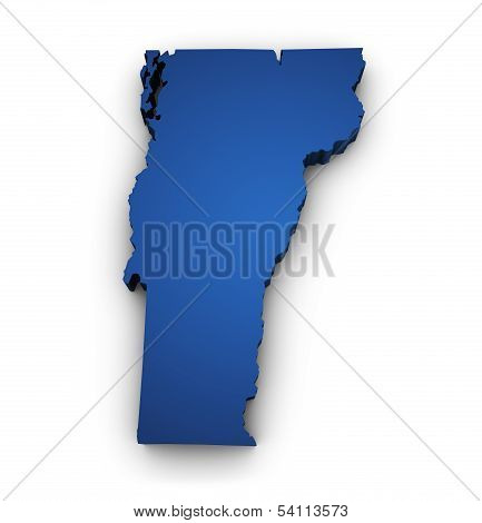 Map Of Vermont 3D Shape