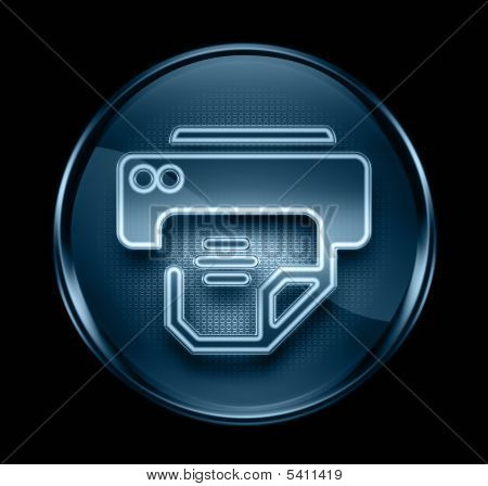 Printer Icon Dark Blue, Isolated On Black Background.