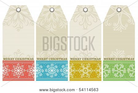Christmas Labels With Snowflakes And Wishes Text, Vector