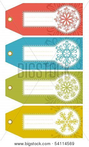 Christmas Labels With Snowflakes And Place For Text, Vector