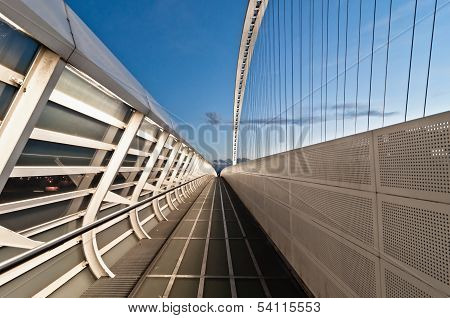 modern suspended bridge in Reggio Emilia - Italy