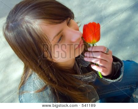 The Girl And A Flower