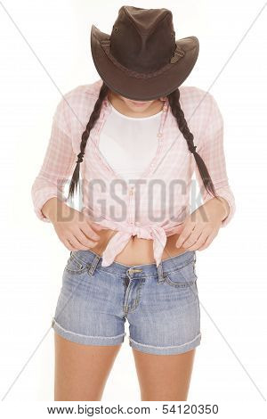 Cowgirl Braids Shorts Pink Shirt Look Down