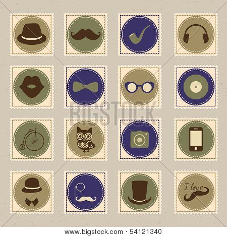 Hipster vintage stamp icon set vector illustration
