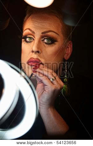 Drag Queen Using Lipstick