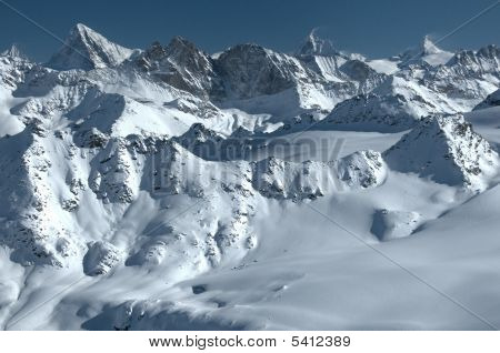 Panorama Of Swiss Alps And Matterhorn
