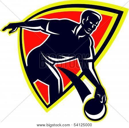 Bowler Throw Bowling Ball Shield Retro