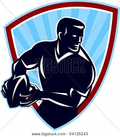 Rugby Player Passing Ball Shield Retro