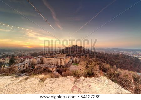 sunset scenery of Lvov, view from height