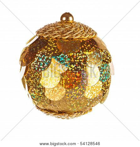 Yellow Dull Christmas Ball On White Background