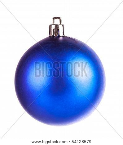 Blue Dull Christmas Ball On White Background