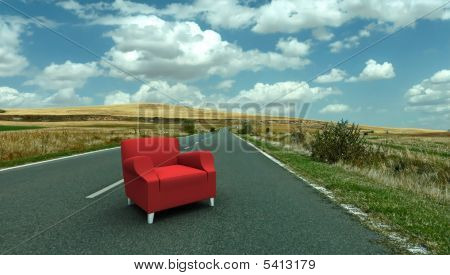 Red Sofa In The Middle Of The Road