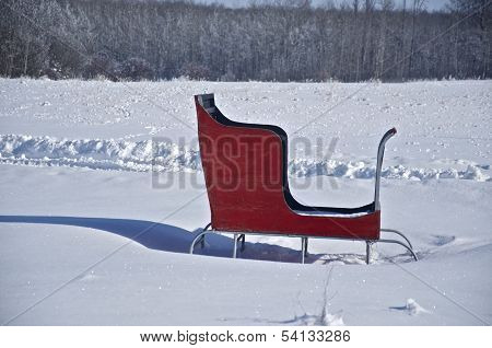 Red Sleigh in Winter