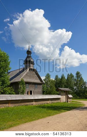 Old wooden rural church near Minsk in Belarus.