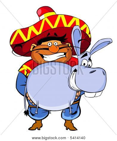 Mexican man with donkey