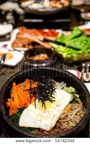 Traditional Korean Bibim Bap on Hot Stone Bowl