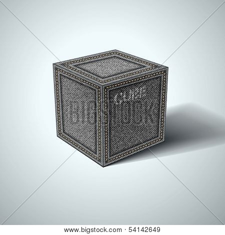 Denim cube on a white background. Vector eps 10
