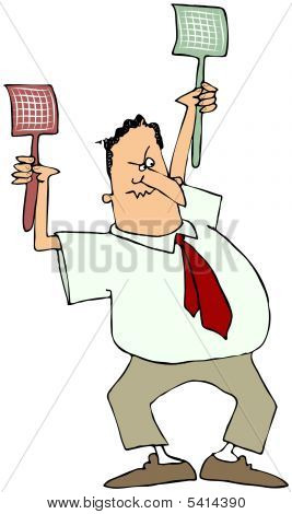 Man With Two Fly Swatters