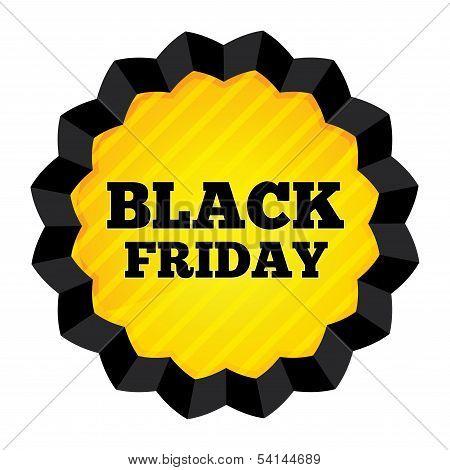 Black Friday Sale label on white background.