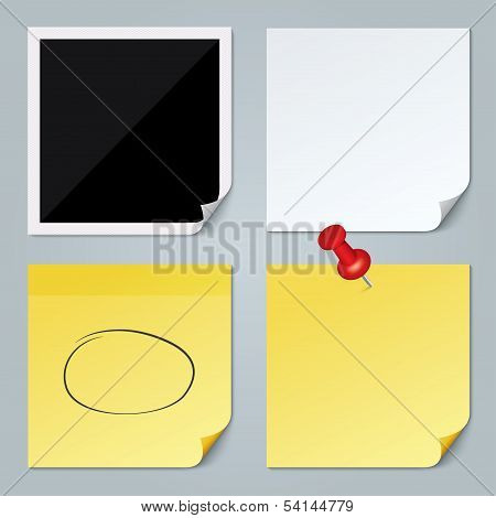 Photo frame, white paper, yellow stick note set.
