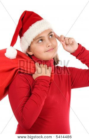 Beautiful Girl With Hat Of Santa Claus Thinking