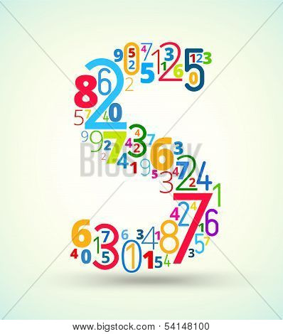 Letter S, colored vector font from numbers