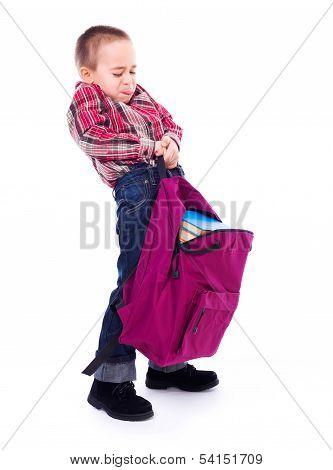 Little Boy With Big School Bag