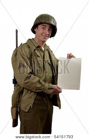 American Soldier Shows A Sign