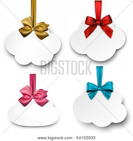 Holiday cloud gift cards with color ribbons and satin bows. Vector illustration.