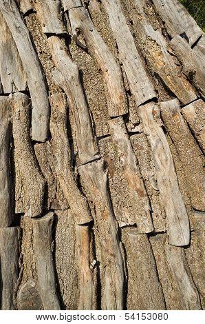 Logs Inside A Charcoal Kiln