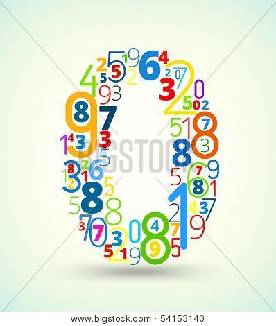 Number 0, colored vector font from numbers