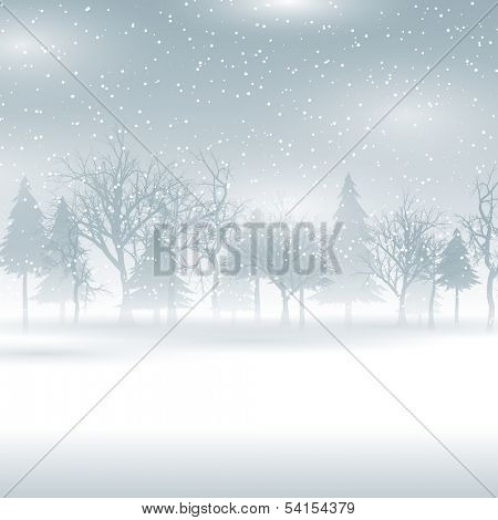 Christmas background with a snowy winter landscape