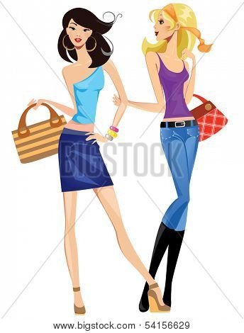 Two fashionable young women