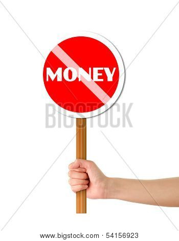 Hand Holdind Money Red Sign