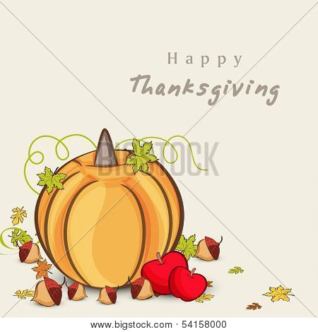 Happy Thanksgiving Day concept with pumpkin, apple on green leaves concept, can be use as flyer, banner or poster.