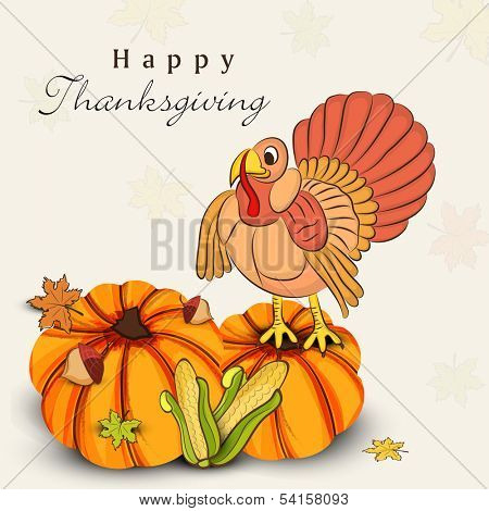 Beautiful, colorful cartoon of turkey bird, pumpkins, corns and autumn leaves for Happy Thanksgiving celebration, can be use as flyer, poster or banner.