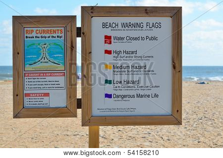 Beach Warning Sign