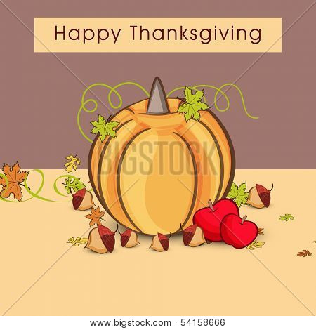 Vintage Happy Thanksgiving Day background with pumpkin, apple and green leaves on brown background.