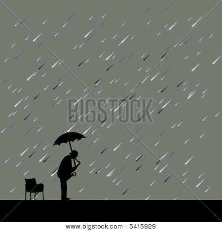 Saxophonist Under Rain And Umbrella Vector Illustration