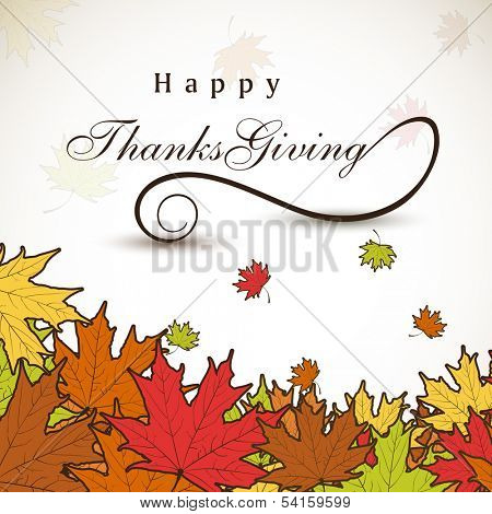 Happy Thanksgiving Day celebration concept with colorful autumn leaves, can be use as flyer, banner or poster.