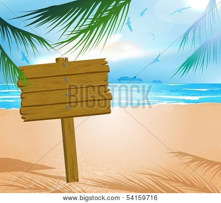 Wooden signboard on idealistic tropical beach
