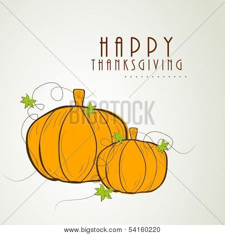 Happy Thanksgiving Day celebration concept with pumpkins and autumn leaves, can be use as flyer, banner or poster.