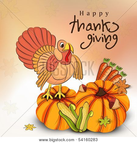 Happy Thanksgiving Day celebration flyer, poster or banner with fruits, vegetables and turkey bird.