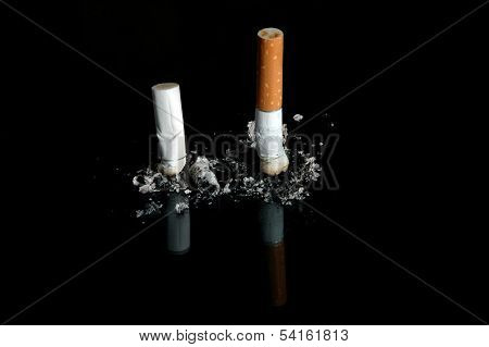 Cigarette Butts On a Black Background