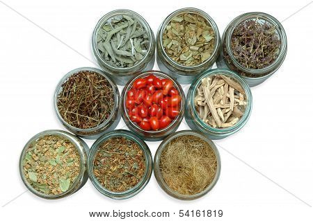Dried Medicinal Plants In Jars