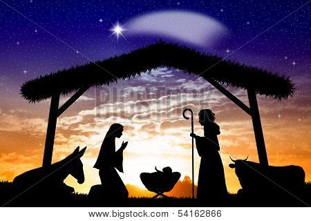 Nativity Scene At Sunset