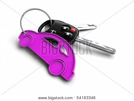 Car keys with car icon keyring