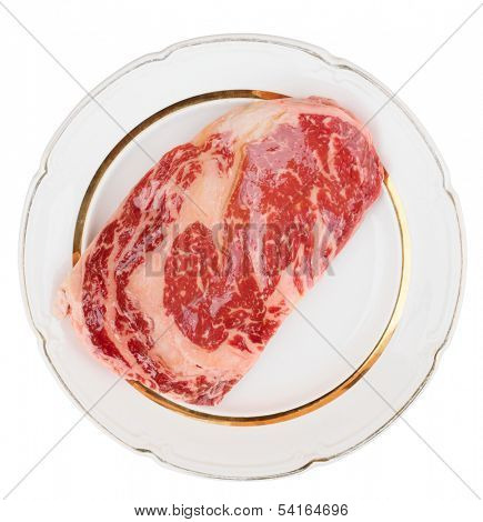 Premium quality kobe beef ribeye steak in plate isolated on white with clipping path