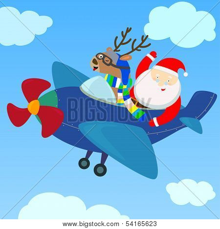 Santa And Reindeer On The Plane