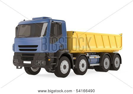 Tipper dump truck isolated. Yellow blue